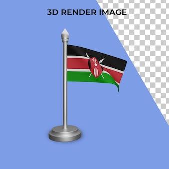 Renderização 3d do conceito da bandeira do quênia - dia nacional do quênia