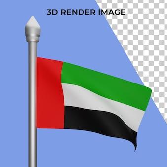 Renderização 3d do conceito da bandeira dos emirados árabes unidos - dia nacional dos emirados árabes unidos