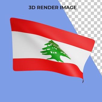 Renderização 3d do conceito de bandeira do líbano - dia nacional do líbano