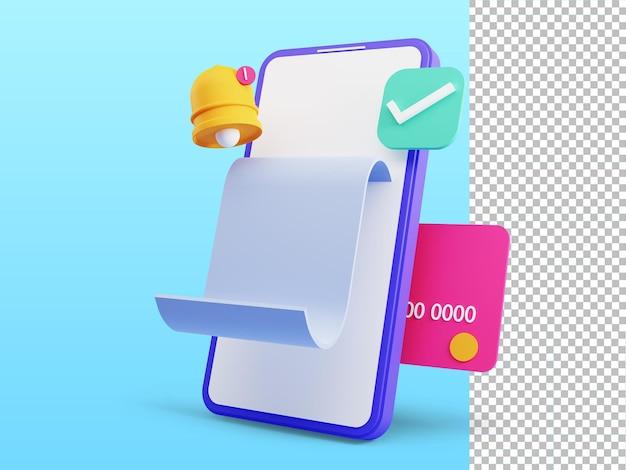 Renderização 3d do conceito de pagamento on-line para transferência de dinheiro com caixa eletrônico no smartphone Psd Premium