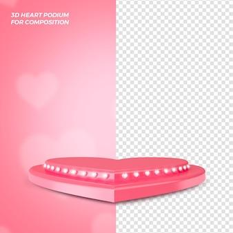 Renderização 3d do conceito do pódio do dia dos namorados