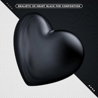 Renderização 3d do coração frontal preto isolada