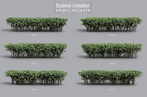 Renderização 3d do criador de cena de arbustos verdes