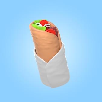 Renderização 3d do delicioso shawarma