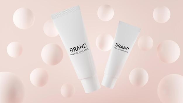 Renderização 3d do design da maquete de creme cosmético