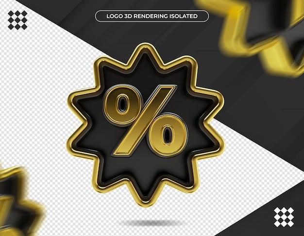 Renderização 3d do design de ícones percentagênicos