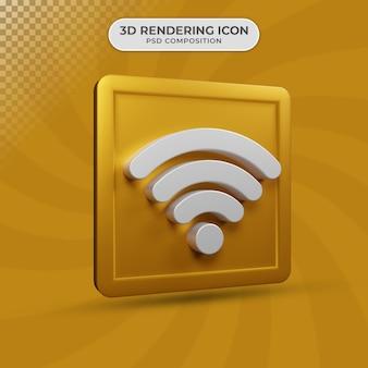 Renderização 3d do design do ícone de wi-fi