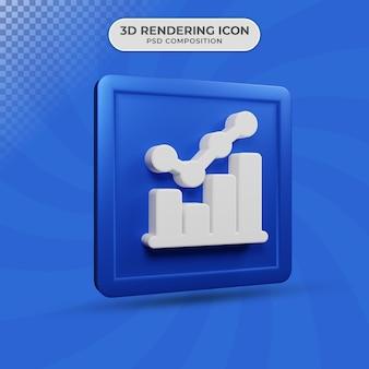 Renderização 3d do design do ícone do gráfico de estatísticas