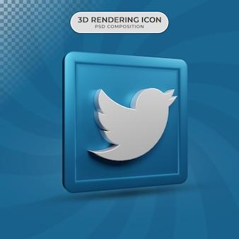Renderização 3d do design do ícone do twitter nas redes sociais