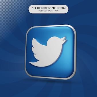Renderização 3d do design do ícone do twitter
