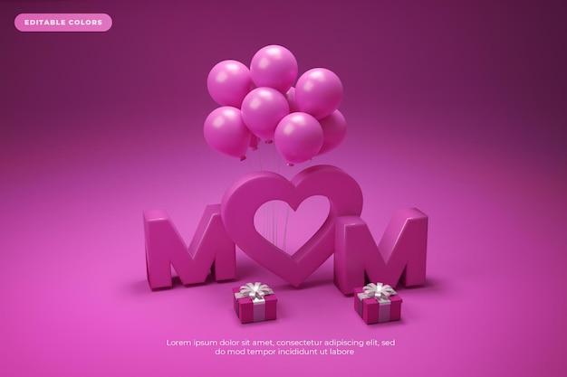 Renderização 3d do dia das mães