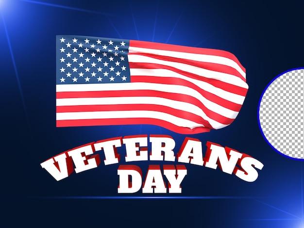 Renderização 3d do dia dos veteranos com psd premium da bandeira dos eua