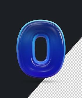 Renderização 3d do efeito de número de vidro brilhante 0