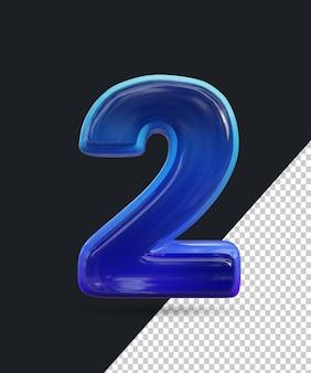 Renderização 3d do efeito de número de vidro brilhante 2