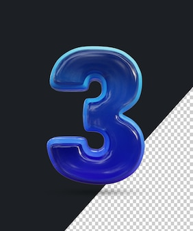 Renderização 3d do efeito de número de vidro brilhante 3