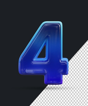 Renderização 3d do efeito de número de vidro brilhante 4