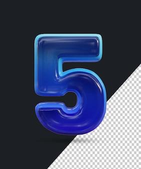 Renderização 3d do efeito de número de vidro brilhante 5