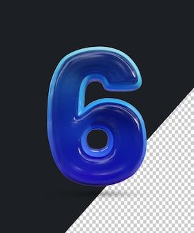 Renderização 3d do efeito de número de vidro brilhante 6