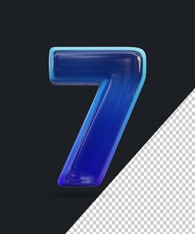 Renderização 3d do efeito de número de vidro brilhante 7