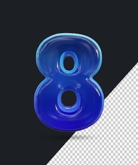 Renderização 3d do efeito de número de vidro brilhante 8