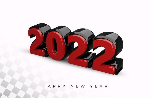 Renderização 3d do efeito de texto de 2022