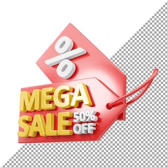 Renderização 3d do emblema da mega venda isolada