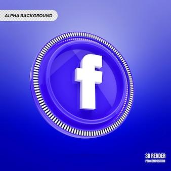 Renderização 3d do emblema do facebook
