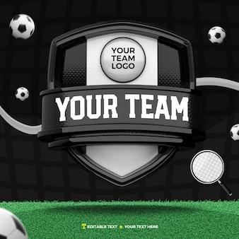 Renderização 3d do escudo frontal preto e branco para esporte e torneio