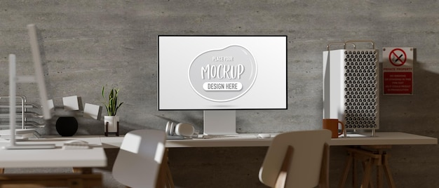 Renderização 3d do espaço de coworking moderno com maquete de computador