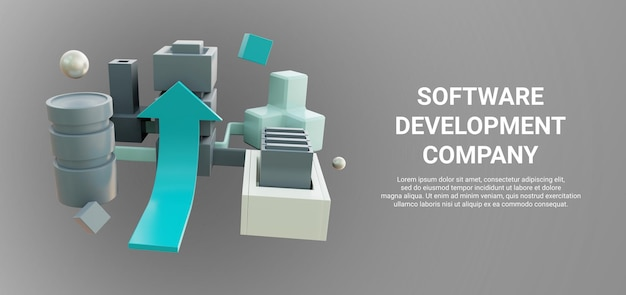 Renderização 3d do esquema de transmissão de dados ou computação em nuvem ou armazenamento de dados para banner