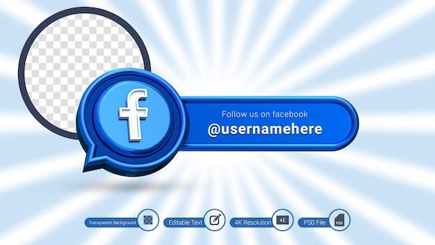 Renderização 3d do facebook siga-nos rótulo isolado ícone de banner de mídia social premium psd