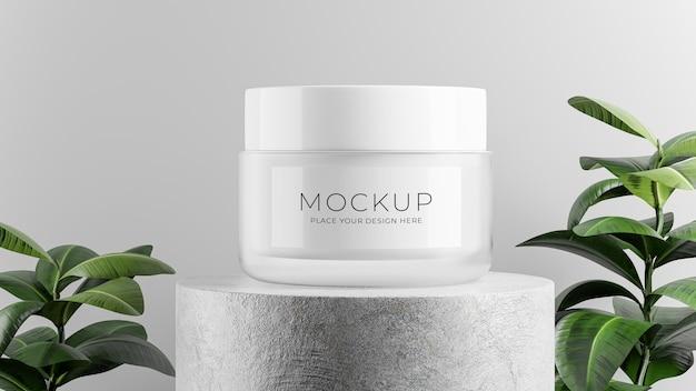 Renderização 3d do frasco de cosmético com concreto pódio para a exibição de seu produto