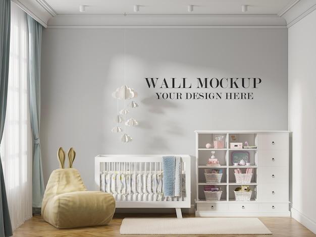 Renderização 3d do fundo da parede do quarto do bebê