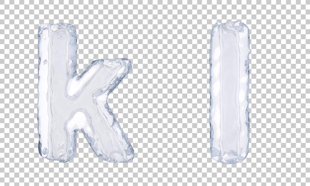 Renderização 3d do gelo alfabeto ke alfabeto l