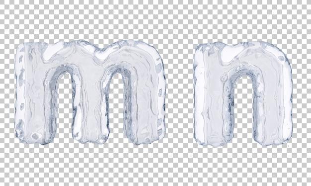 Renderização 3d do gelo alfabeto me alfabeto n