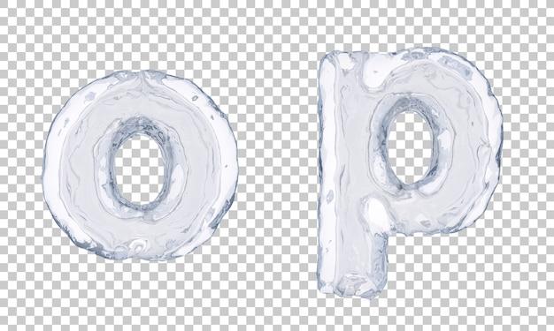 Renderização 3d do gelo alfabeto oe alfabeto p Psd Premium