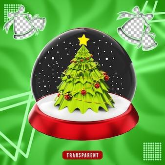 Renderização 3d do globo de neve de natal