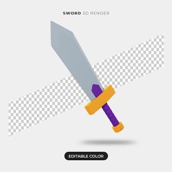 Renderização 3d do ícone da espada isolada