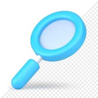 Renderização 3d do ícone da lupa azul