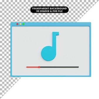 Renderização 3d do ícone da música ui ux