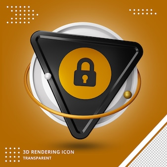 Renderização 3d do ícone de cadeado isolada