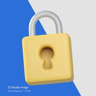 Renderização 3d do ícone de cadeado isolado no branco.