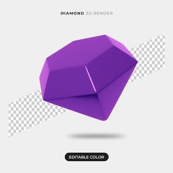 Renderização 3d do ícone de diamante isolada