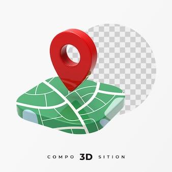 Renderização 3d do ícone de localização