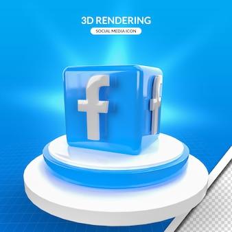 Renderização 3d do ícone de mídia social do facebook em fundo azul