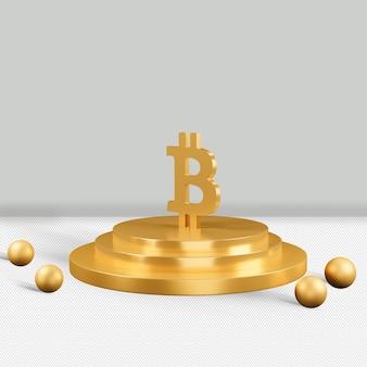 Renderização 3d do ícone de ouro bitcoin