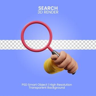 Renderização 3d do ícone de pesquisa isolada
