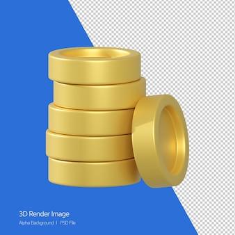 Renderização 3d do ícone de pilha de moedas isolado no branco.