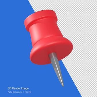 Renderização 3d do ícone de pino de papel vermelho isolado no branco.