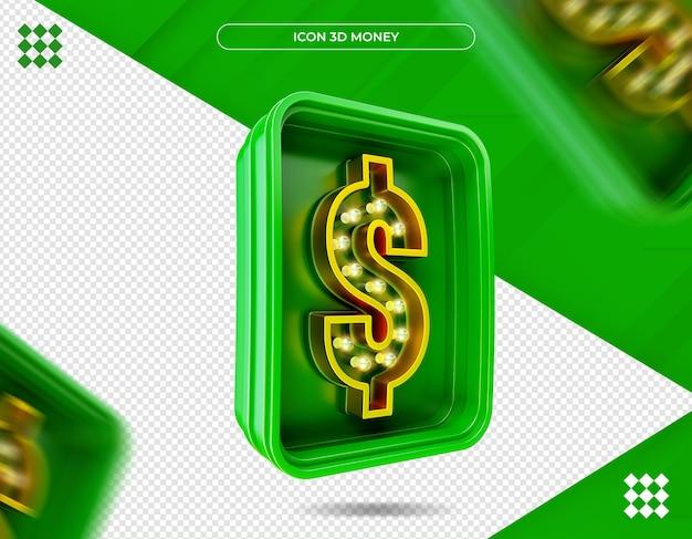 Renderização 3d do ícone dinheiro isolado